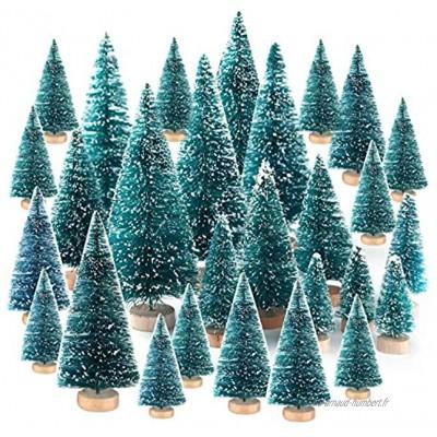 TUPARKA 48 Pcs Mini Sisal Arbres De Noël Bouteille Brosse Arbres Arbres De Table Arbres Diorama pour la Fête De Noël Décoration de La Maison