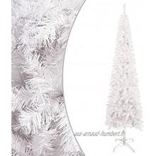 vidaXL Sapin de Noël Etroit Arbre de Noël Artificiel Ornement Décoration de Noël Jardin Patio Arrière-Cour Salon Extérieur Blanc 210 cm