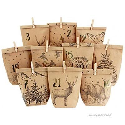 Calendrier de l'Avent DIY à remplir 24 Sacs Cadeaux imprimés et 24 Autocollants et Pinces à numéros Motif Noir Hiver Confortable pour bricoler et Offrir Noël