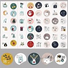 HERZWILD Lot de 10 autocollants numérotés pour calendrier de l'Avent 1 à 24 Pour bricolage et décoration