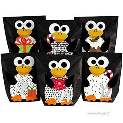Papierdrachen Calendrier de l'Avent DIY à remplir Pingouins perforés avec 24 Sacs en Papier Noir à remplir soi-même et DIY Noël 2021 pour Les Enfants.