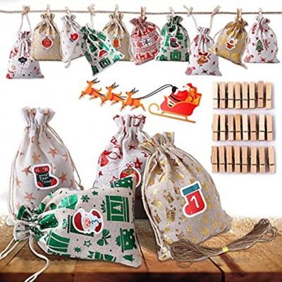 Ulikey Calendrier de l'Avent 24 Sac en Tissu de Calendrier de l'avent Sac en Tissu Remplissable Sachets de Jute de Confiserie Sacs Surprise pour DIY Décoration Noël Couleur 1