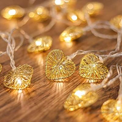 CozyHome Guirlande lumineuse LED en forme de cœur – Batterie de 5 m avec minuteur   20 cœurs blanc chaud   LED cœur Tumblr décoration pour : chambre à coucher coiffeuse   Guirlande lumineuse à piles