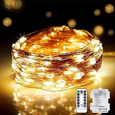 DeepDream 200LED Guirlande Lumineuse batterie ,20M LED Fil Cuivre 8 Modes Guirlande avec télécommande Timer IP65 Extérieur Intérieur pour Noël Jardin Chambre Mariage Blanc Chaud