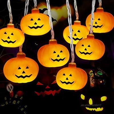 Halloween LED Citrouille Guirlande Lumières 3M 20LED Lumières de ficelle de citrouille de décor d'Halloween Guirlande lumineuse de ficelle de Décorations pour DIY Fête d'halloween Noël