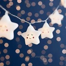 Lights4fun Guirlande Lumineuse Enfant 12 Étoiles LED Blanc Chaud à Piles
