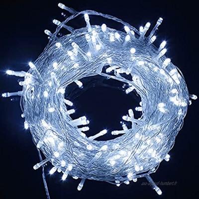 SOAIY Guirlande Lumineuse LED,Eclairange Intérieur avec 100 LED 13m 8 Modes Fonction de Mémoire IP44,Lumière Décoration pour Sapin de Noël Anniversaire Mariage Fête dans Chambre Terrasse-Blanc Froid