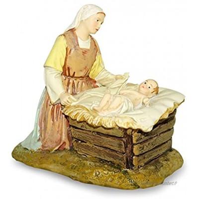 Ferrari & Arrighetti Nativité Figurine Vierge Marie avec Bébé Jésus dans Le Berceau Collection Martino Landi 12 cm