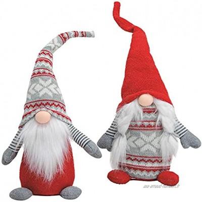 Matches21 Figurine de Noël en Textile Tricot 1 pièce Décoration de Noël pour Femme ou Homme 16 x 14 x 45 cm