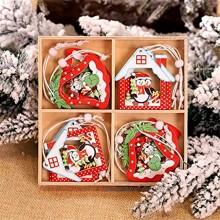 SSMDYLYM 12pcs Snowflakes de Noël Pendentifs en Bois Ornements d'arbre de Noël Accueil Homage Décor Color : A Size : One Size