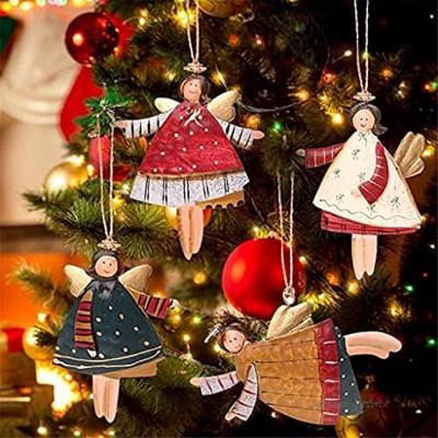 SSMDYLYM 4pcs Angel Nouvel an Métal Christmas Christmas Ornements Pendentifs Pending Cadeaux Décoration d'arbre de Noël for la Maison Color : A Size : One Size