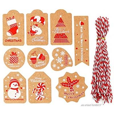 SSMDYLYM 50pcs Noël Christmas Kraft Paper Tags Joyeux Noël Tag Arbre de Noël Suspendre Une étiquette d'ornement à la Maison Color : A Size
