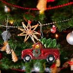 Amosfun Camion de ramassage avec sapin de pin Ornement pour Noël Maison de vacances Cadeau Rouge