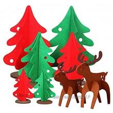 Anyingkai 8pcs Sapin Feutrine 3D,Sapin Feutrine pour Enfants,Arbre Noël en Feutre,Sapin de Noël de Table,Sapin de Noël DIY
