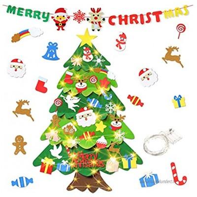 aovowog Feutre Sapin de Noël DIY 75 x 100 cm Porte Wall Décoration Arbre de Noël avec 50 LEDs lumières 32+1 Ornements détachables Convient pour Christmas