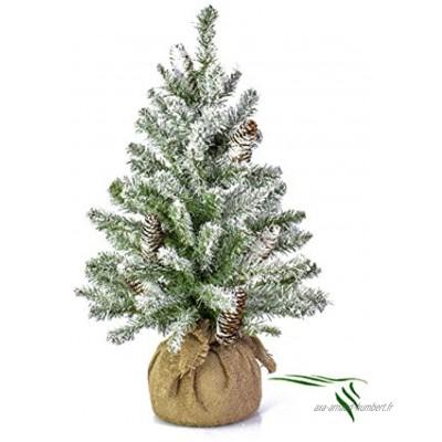 artplants.de Mini Sapin Artificiel Vienne enneigé Sac de Jute 60cm Ø 40cm Sapin de Table Arbre de Noël Artificiel