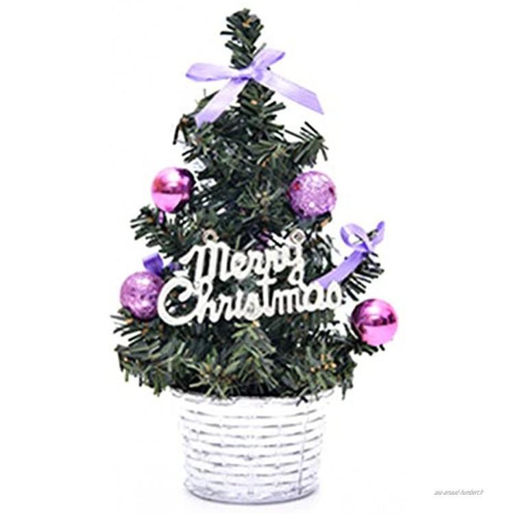 Brussel 1 mini sapin de Noël artificiel en pot avec boule pailletée Décoration de table Violet