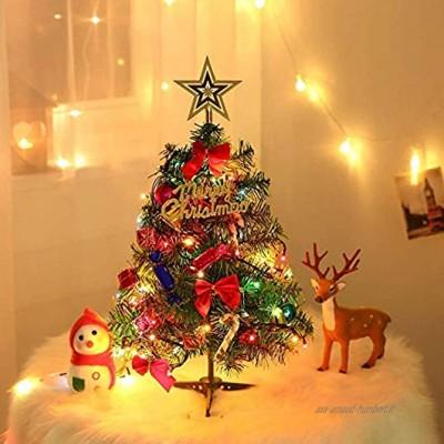 Dream Loom Sapins de Noel Artificiel 60 cm Mini Sapin de Noel avec guirlandes Lumineuses et Ornements,Décoration de Noël pour Table