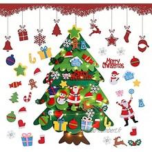 Feutre Arbre De Noël en Feutre Feutre Arbre De Noël pour Enfants 3.28ft Sapin Feutrine A Decorer DIY Feutre Arbre De Noël avec 32Pcs Ornements Sapins De Noël DéCoration pour Murales Fenêtre Porte