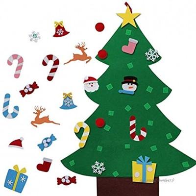 lzndeal Arbre de Noël Feutre Sapin de Noël Feutrine DIY Jouet avec 26 Ornements détachables Cadeaux de Noël pour Enfants Décoration Vitrine Mural Porte Nouvel an DIY Craft Decor Bricolage