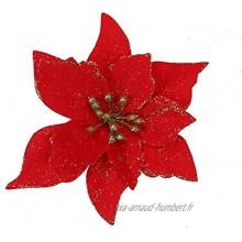 """ZOOONAI Lot de 10 poinsettias artificiels 5,11"""" pour décoration de fleurs de Noël guirlandes de sapin de Noël de vacances de saison"""