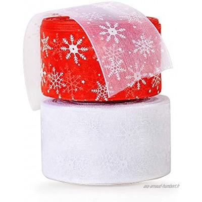 2 Rouleaux Rubans Organza Noël Décoration Sapin de Noël Arbre Motif Flocon de Neige pour Emballage de Cadeaux Mariage Bricolage