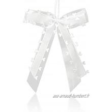 30 Pièces Noeud Voiture Mariage Blanc Décoration De Mariage Nœuds avec Cœurs Satin Ruban Décoration de Voiture de Mariage Décoration De Mariage Nœuds pour Décoration de Voiture Mariage