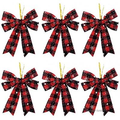 DEDEMCO Lot de 6 nœuds de Noël en tissu écossais rouge et noir pour décoration de sapin de Noël décoration de fête nœud en treillis nœuds décoratifs pour la maison et les fêtes de Noël