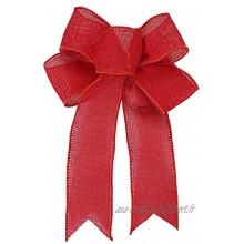 HJHIWE Lot de 12 nœuds de Noël en toile de jute rouge 24,9 x 19,1 cm couronne de Noël nœud pour décoration de sapin de Noël à suspendre pour bricolage bouquets maison mariage
