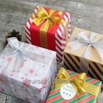 Lot de 2 rubans dorés en organza pour emballer des cadeaux de fête des mères des vacances des gâteaux de la pâtisserie des travaux manuels or argent