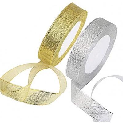 Lot de 2 rubans en organza doré et argenté pour emballage cadeau couture arts artisanat robes mariage anniversaire et décoration de vêtements
