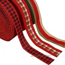 Lot de 3 rouleaux de ruban de Noël en toile de jute avec motif écossais rouge avec bord filaire pour décoration de Noël nœuds floraux