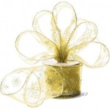 Ruban en Organza de 6,3 cm de Largeur Ruban de Flocon de Neige Brillant Transparent avec Bobine pour Décoration de Noël Emballage de Cadeau Décoration de Fête Or 45 m