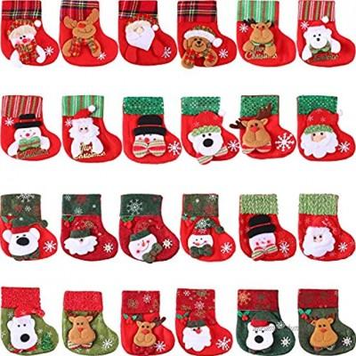 24 Pièces Mini Chaussettes de Noël 3D Père Noël Bonhomme de Neige Détenteurs d'Argenterie Petits Chaussettes de Noël de Cadeaux et Sacs de Traiter Chaussettes de Noël Suspendues