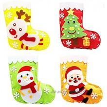 Bas de Noël Sac Cadeau 4pcs Chaussette De Noel Artisanat de couture pour les enfants,Arbre de Noël renne père Noël bonhomme de neige Bas de Noël Set Kit de couture en feutre bricolage pour filles
