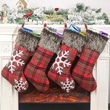 Décorations de Noël Christmas Chaussettes 4 pcs Bas de Noël à Suspendre Sac Mignons Flocon de Neige Cadeau de Noël Décorations De Maison Rouge