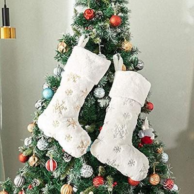 Frmarche Chaussette de Noël Xmas Sac Cadeau Bas de Noël Chaussette Noel Suspendre pour Décoration Cheminée Sapin Vitrine Bonbons 2PCS