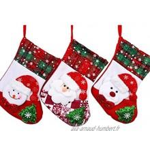 Glield Lot de 3 Chaussettes Bas de Noël Arbre de Noël à Suspendre Motif de Père Noël&Bonhomme de Neige&Ours SDW03