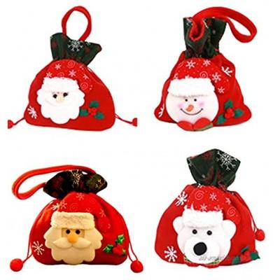 HPiano 4PCS Chaussettes de Noël Père Noël Bonhomme de Neige et Renne Grandes Bas de Noël Décoration Noel pour Arbre Cheminée Vitrine Sac de Bonbons Sac Cadeau Décoration De Fête De Noël