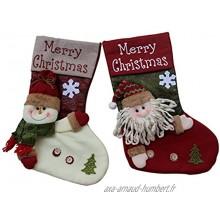 Lot de 2 bas de Noël faits à la main Bonhomme de neige et Père Noël décoration de Noël à suspendre 48,3cm