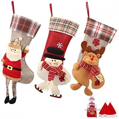 SueH Design Grandes Chaussettes de Noël Set de 3 | 2 Chapeaux de Père Noël et 1 Pochette à Bonbons Inclus | 42 cm * 24 cm