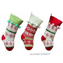 TREA2SURE 2020 Lot de 3 bas de Noël en tricot rustique avec pompons décoration à suspendre pour les vacances en famille les fêtes de Noël les fêtes de Noël les fêtes de fin d'année