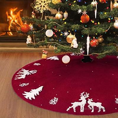 48inch Jupe de sapin de Noël en tricot de 122cm tapis de sapin de Noël en 3D avec élan rouge rustique pour décorations de Noël d'intérieur ou d'extérieur