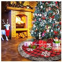 HJUIK Jupe Arbre Jupe d'arbre De Noël,48 Pouces Buffalo Plaid Arbre De Noël Jupe,Rustique Jute Arbre De Noël Jupe en Fausse Fourrure Flocon De Neige Jupe Arbre De Noël