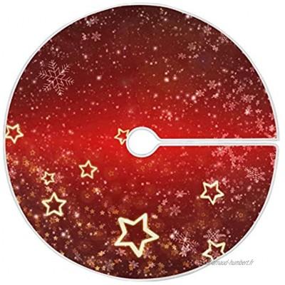 Mnsruu Jupe de sapin de Noël rouge avec flocons de neige et étoiles dorées pour décorations de Noël 120 cm