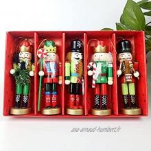 5 pièces Ensemble d'ornement de casse-noisette de Noël,URMAGIC ornement de casse-noisette en bois 13cm Grands chiffres de casse-noisette de Noël jouets de marionnettes de casse-noisette