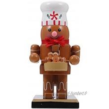 Huakaimaoyi Marionnette de Noël en forme de bonhomme en pain d'épices en bois Décoration de bureau Marionnette à paillettes A