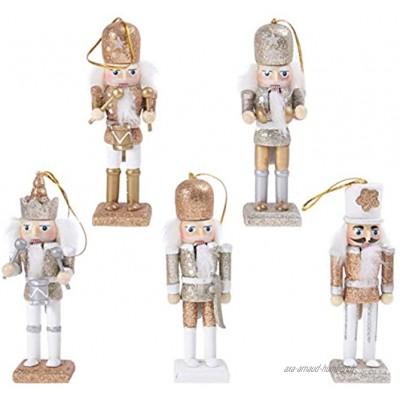 SOIMISS 1 Set D'ornements de Noël Figurines en Bois Casse-Noisette Objets de Collection en Bois Décorations de Noël pour Arbres de Noël Étagères Tables d'or