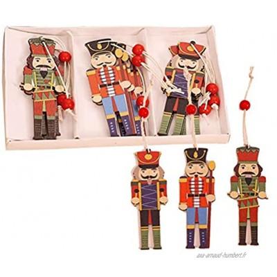 YIPUTONG Casse-Noisette Figurine en Bois Ensemble Casse-Noisette Pendentifs en Bois Soldat de Noyer de Noël Pendentifs en Bois imprimés colorés Décorations d'arbre de Noël avec Cordon 9 pièces