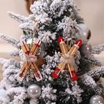 FENXIXI 2pcs Sled Décoration de Noël en bois for Noël Accueil Décorations en bois Ski de Bell for la maison Color : A Size : As the picture shows